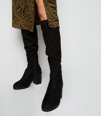 Wide Fit Black Chunky Knee High Boots