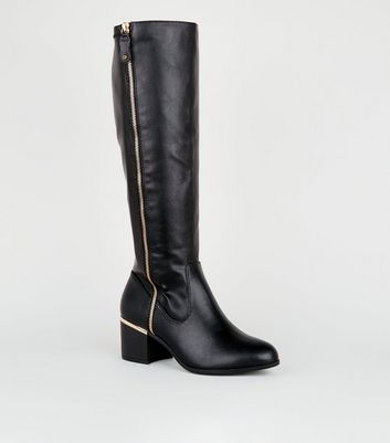 Wide Fit Black Leather-Look Knee High