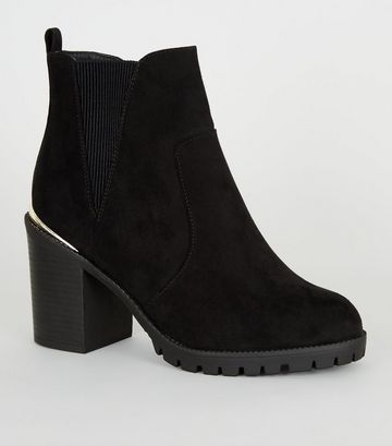 Extra Wide Fit Black Suedette Chunky Boots