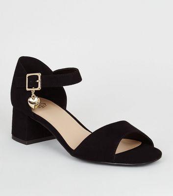 Girls Black Suedette 2 Part Sandals