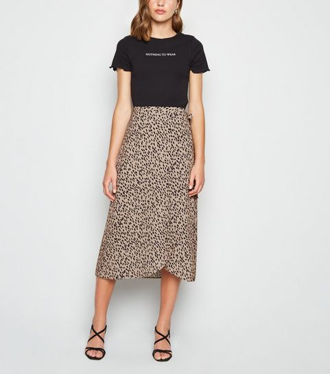 b28d1ed8b Brown Elma Spot Print Wrap Midi Skirt ...