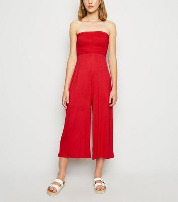 Cameo Rose Red Shirred Bandeau Jumpsuit