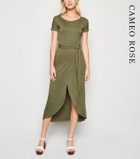 3782e7c93b7b65 ... Cameo Rose Khaki Maxi Wrap Dress ...