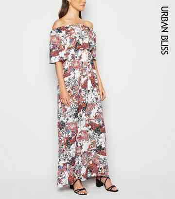 1ecf1905d7 Urban Bliss White Paisley Bardot Maxi Dress ...