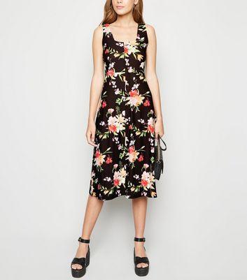 Blue Vanilla Black Floral Square Neck Midi Dress by New Look
