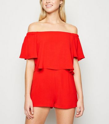 Cameo Rose Red Layered Playsuit