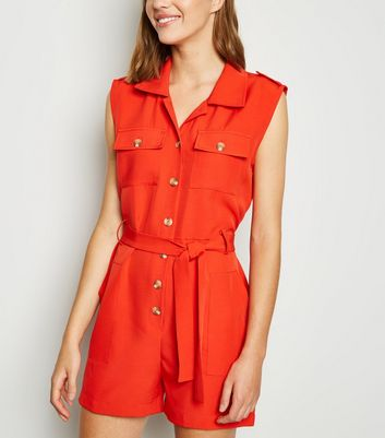Cameo Rose Red Sleeveless Utility Playsuit