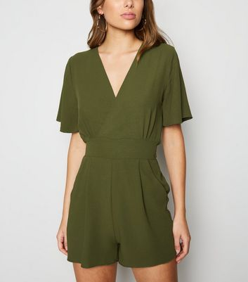 Cameo Rose Olive Wrap Playsuit