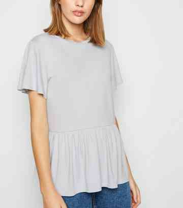 Grey Crepe Peplum T-Shirt