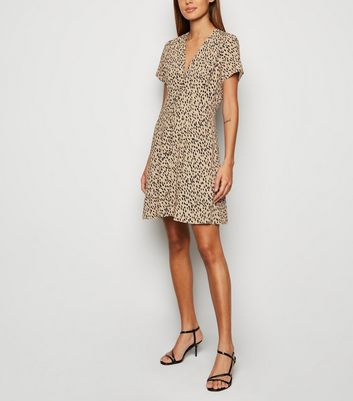 Brown Abstract Spot Button Front Tea Dress by New Look