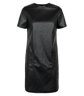 Innocence Black Leather-Look T-Shirt Dress New Look