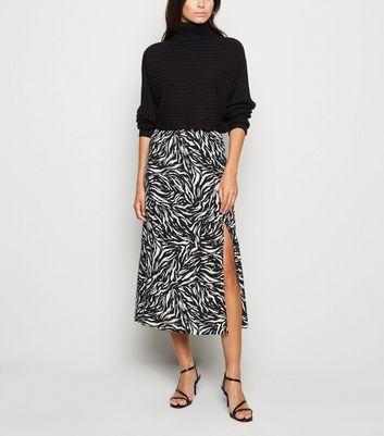 Black Tiger Print Side Split Midi Skirt by New Look