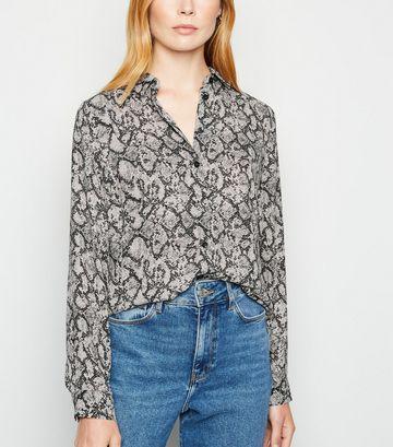 Light Grey Snake Print Long Sleeve Shirt