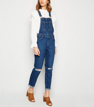 Blue Ripped Knee Denim Dungarees