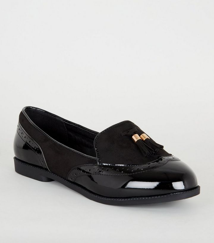 great variety models quality products 100% top quality Extra Wide Fit Black Patent Tassel Loafers Add to Saved Items Remove from  Saved Items