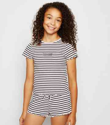 Girls Pink Stripe Ribbed Pyjama Shorts