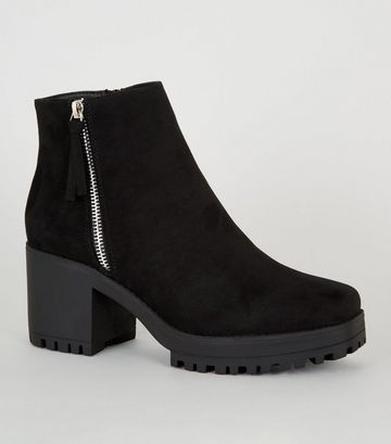 Black Square Toe Chunky Ankle Boots