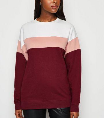 Burgundy Colour Block Sweatshirt