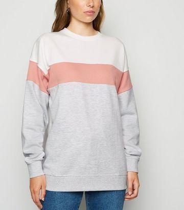 Pale Pink Colour Block Sweatshirt