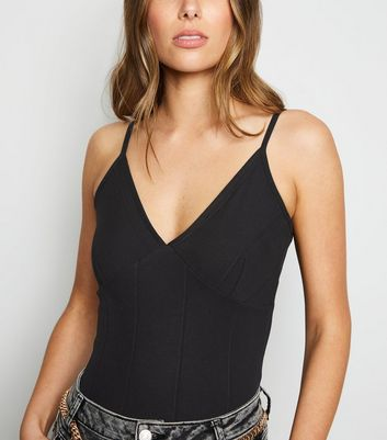 Black Ribbed Bandage Strappy Bodysuit