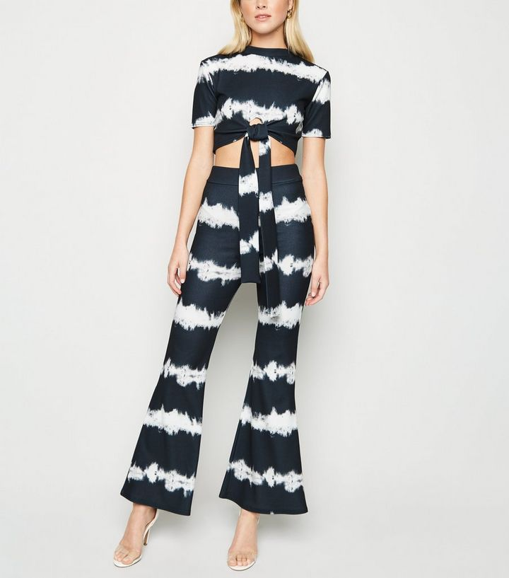 d3e800a17 Cameo Rose Black Tie Dye Flare Trousers | New Look
