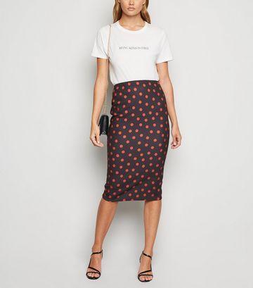 Black Spot Scuba Pencil Skirt