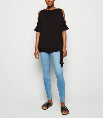 Black Cold Shoulder Tie Side Top