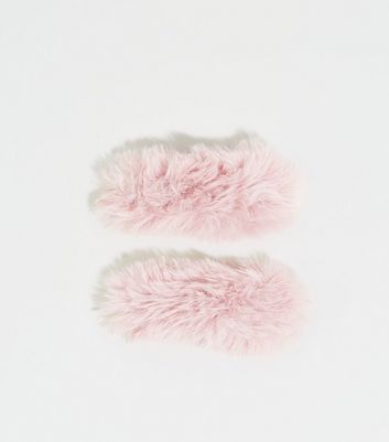 2 Pack Mid Pink Faux Fur Hair Clips