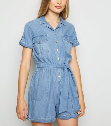 Blue Light Wash Denim Utility Playsuit