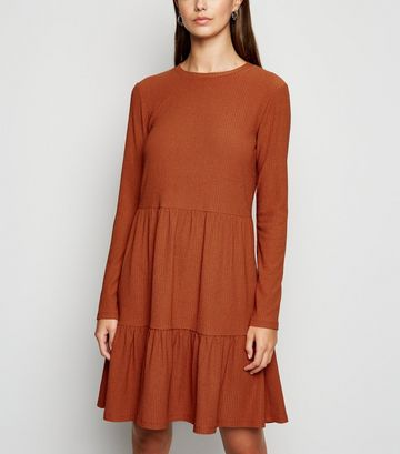 Rust Long Sleeve Tiered Smock Dress