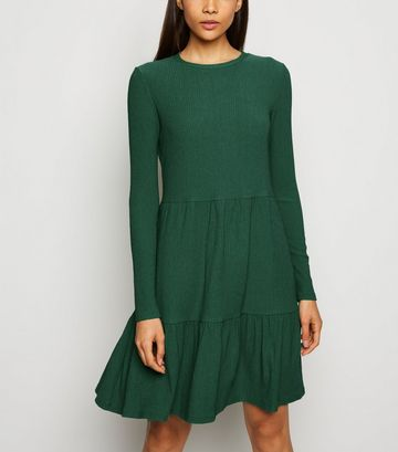 Dark Green Long Sleeve Tiered Smock Dress