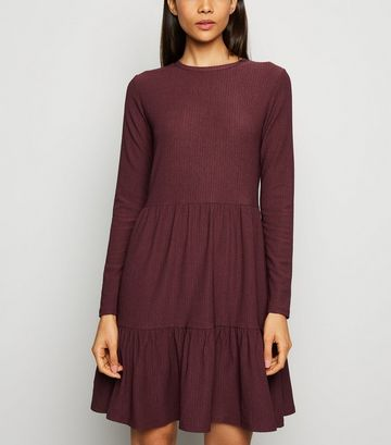 Burgundy Long Sleeve Tiered Smock Dress