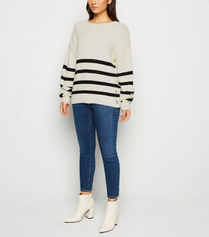 check out e816f 1db21 Petite – Weißer Pullover mit Streifen Für später speichern Von  gespeicherten Artikeln entfernen