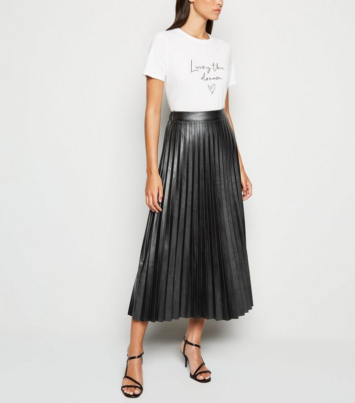 outlet finest fabrics 50-70%off Black Leather-Look Pleated Midi Skirt Add to Saved Items Remove from Saved  Items