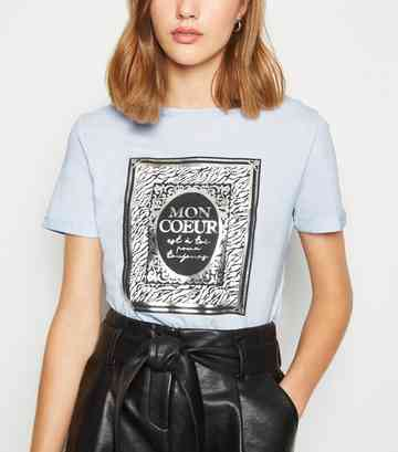 Pale Blue Mon Coeur Metallic Slogan T-Shirt