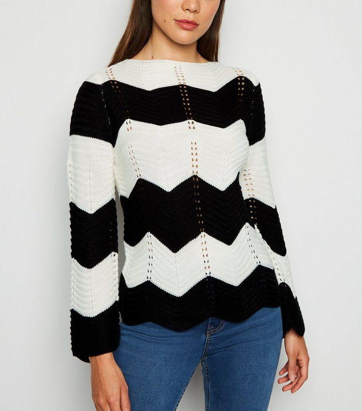 save off 08454 9b00f Schwarzer Pullover mit Chevron-Muster in Blockfarben Für später speichern  Von gespeicherten Artikeln entfernen