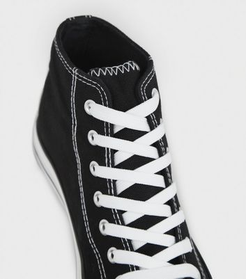 Black Canvas High Top Trainers | New Look