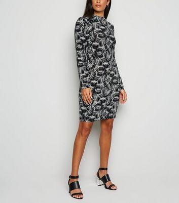 Noisy May Black Brush Stroke Bodycon Dress New Look