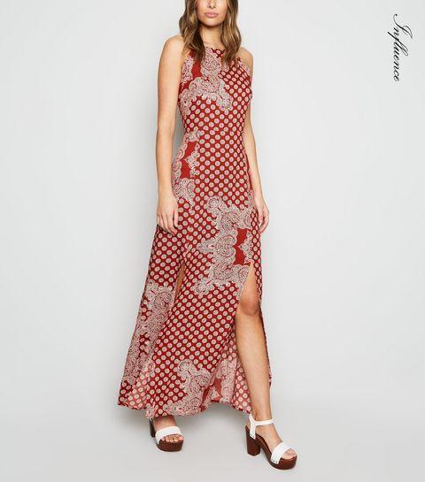d1ad826e889bb ... Influence Red Tile Print Split Maxi Dress ...
