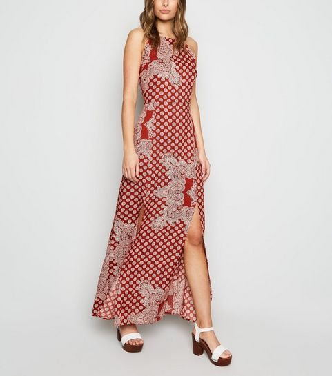 870f59251 Influence Red Tile Print Split Maxi Dress ...