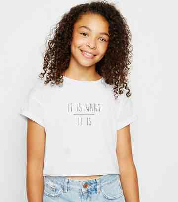 Girls White It Is What It Is Slogan T-Shirt