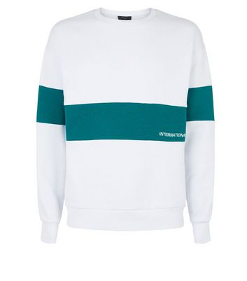 Sweat blanc design color block à slogan International | New Look