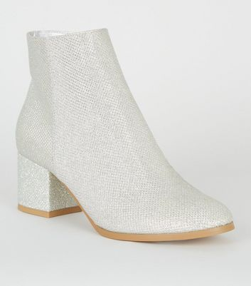 Girls Silver Glitter Block Heel Ankle Boots Add to Saved Items Remove from  Saved Items