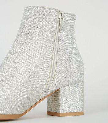 Girls Silver Glitter Block Heel Ankle