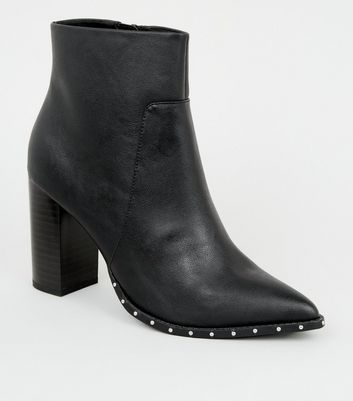 Wide Fit Black Stud Trim Pointed Boots