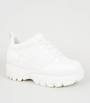 White Leather-Look Chunky Lace Up