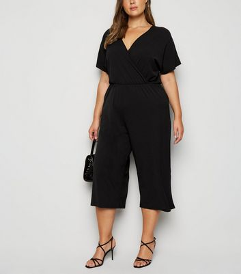 Mela Curves Black Wrap Culotte Jumpsuit New Look