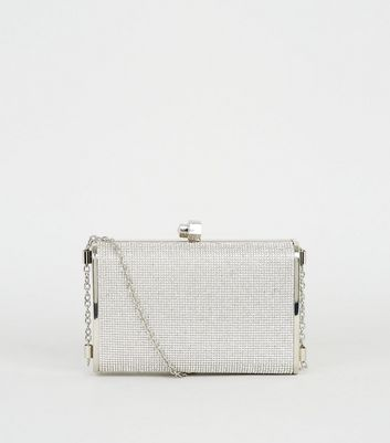 shop for Silver Diamanté Box Clutch Bag New Look at Shopo