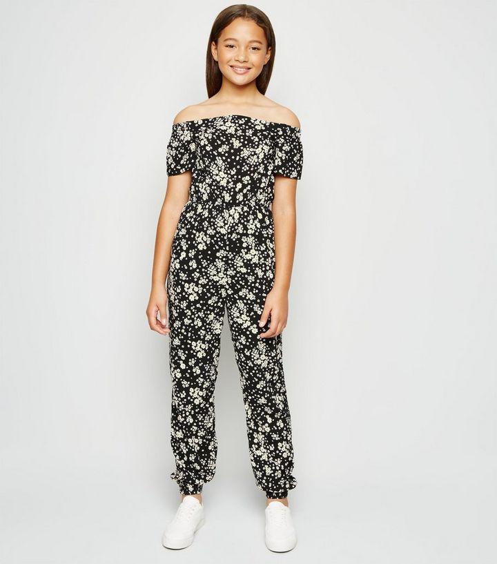 Girls Black Floral Bardot Jumpsuit   New Look