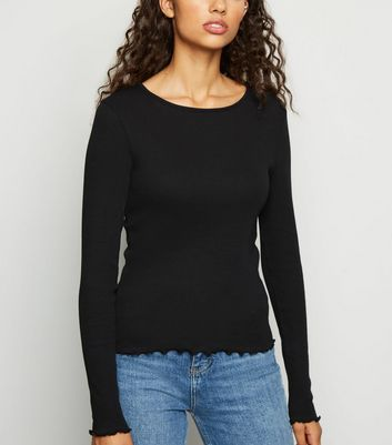 Black Ribbed Frill Trim Long Sleeve T Shirt by New Look
